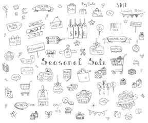 Hand drawn doodle Seasonal Sale Concept set Vector illustration Sketchy Sale icons Special offer elements Tags Clearance Shopping Ribbons Cart, Delivery truck Discount Save up to icons