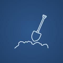 Mining shovel line icon.