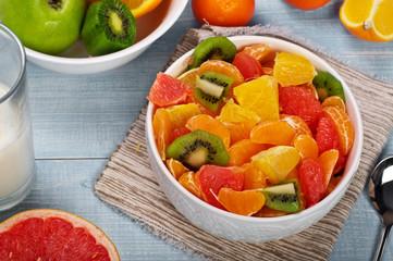 Fruit salad with tangerine, grapefruit, orange, kiwi
