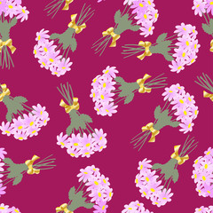 Pattern daisies bouquet on claret