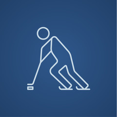 Hockey player line icon.