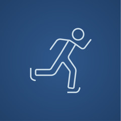 Speed skating line icon.