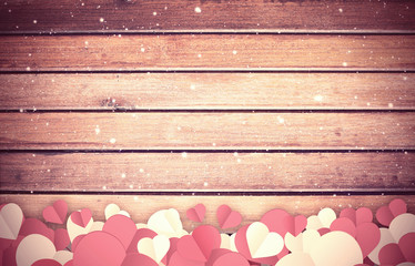 Hearts for Valentines Day Background, wood texture background