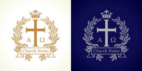 The vintage church logo. Template logotype for the christian churches, missions, bible colleges and seminaries in the form of a cross with crown and laurel branches.