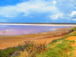 pink lake near kalbarri, western australia