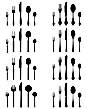 Set of black silhouettes of cutlery, vector