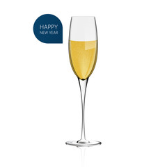Realistic Champagne glass Vector for white background. Happy New Year!