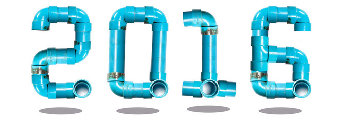newyear 2016 water pipe number creation with isolated background
