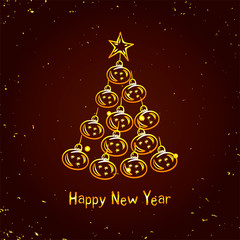 Gold Christmas tree. Happy Christmas and New Year card vector Seasons Greeting glowing dark background