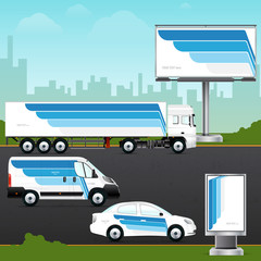Template vehicle, outdoor advertising or corporate identity. Passenger car, truck, bus, billboard and citylight.