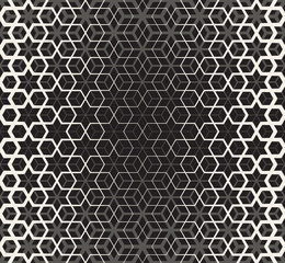 Vector Seamless Black And White Star Cube Geometric Grid Halftone Line Pattern