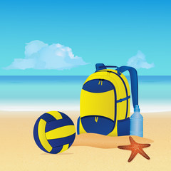 Beach volleyball equipment: volleyball ball, backpack and bottle of water on the beach. Summer background. Vector illustration