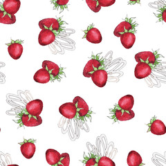 Watercolor Seamless pattern with strawberry
