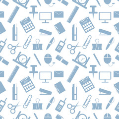 Seamless vector pattern. Pastel background with elements of green office supplies on the white backdrop