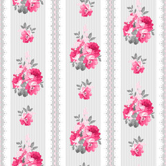 Seamless pattern with pink roses and lace