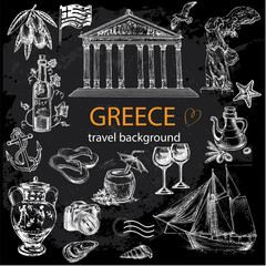 hand drawn travel set Greece on a black background