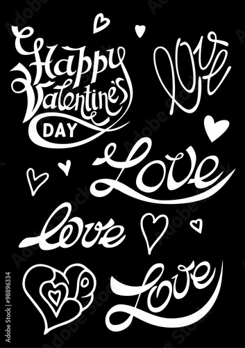 Love day lettering on dot heart background