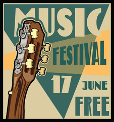 Musician concert show poster with acoustic guitar vector illustration