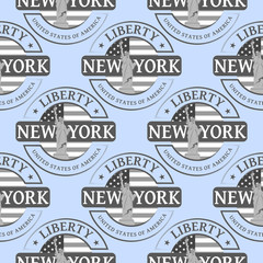 Stamp with the Statue of Liberty and New York