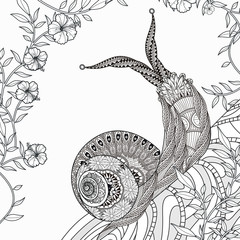 elegant snail coloring page