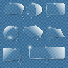 Set of realistic glass speech bubbles. Vector