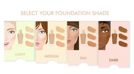 Foundation cream colors set.