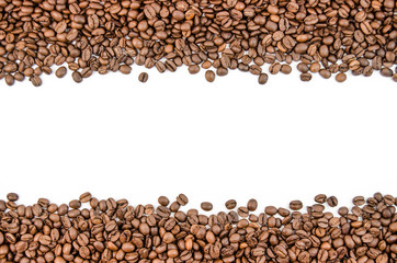 Fragrant coffee beans in large quantities