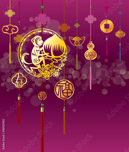 chinese new year monkey illustration with golden decoration in purple background
