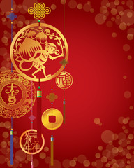 Chinese New Year decorative background with hanging golden coins. Left middle means Bless; the middle means Very lucky and left bottom Chinese word means Year of monkey