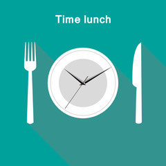 Illustration time lunch clock stylish design