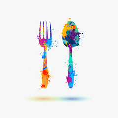 fork and spoon rainbow splash icon