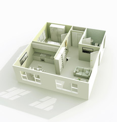3d architectural model rendering of home apartment