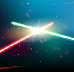 Two laser rays.