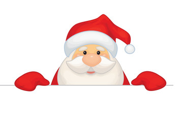 Vector Santa Claus cartoon hiding by blank isolated.