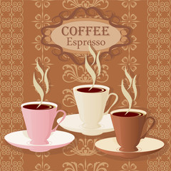 Three cups of coffee on a vintage background.
