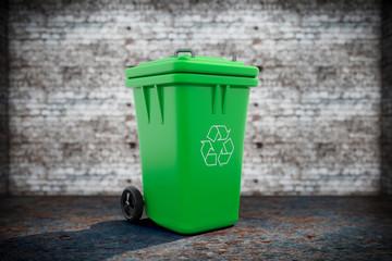 Green Garbage Trash Bin