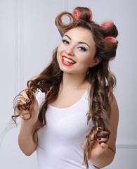 Portrait of beautiful girl model in pin up