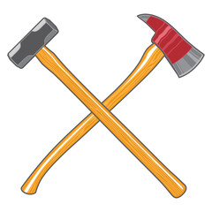 Firefighter Ax and Sledge Hammer is an illustration of a crossed firefighter or fireman's ax and a sledge hammer.