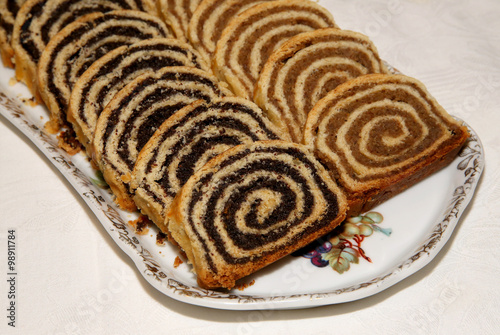 Hungarian Christmas Traditions.Some Pieces Of Traditional Hungarian Cake Poppy Rolls Beigli