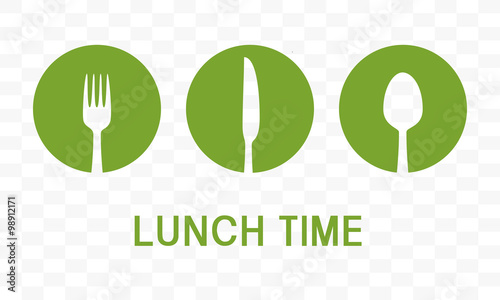 Lunch Time With Cutlery Sign Over White Background Vector Illustration