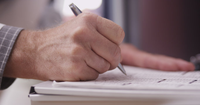 Doctor's hand writing notes