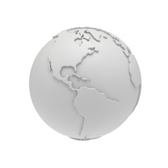 Earth planet globe. 3D render. America view.