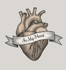 Engraving vector heart
