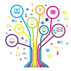 Communication tree. Web icon