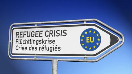 Signpost REFUGEE CRISIS Flüchtlingskrise Crise des réfugiés