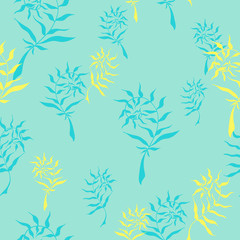 Seamless pattern with hand drawn wild herbs - ferns. Vector, EPS 10.
