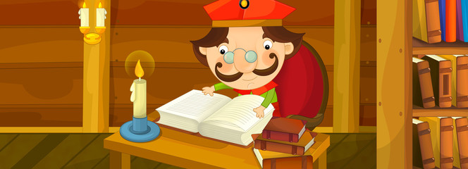 Cartoon scene of nobleman reading book in traditional wooden room of home library - illustration for children