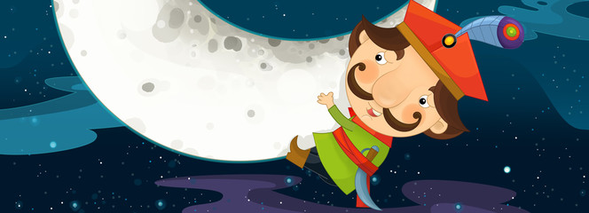 Cartoon scene - nobleman is sitting on the moon and watching earth from distance - illustration for children