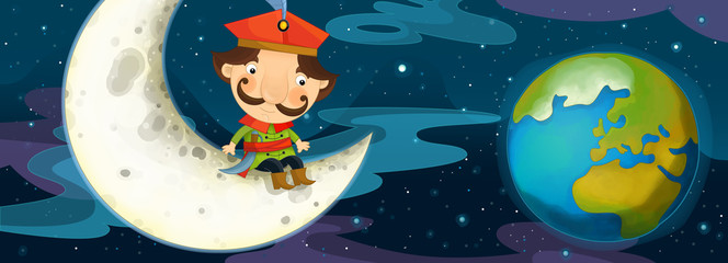 Cartoon scene - nobleman is sitting on the moon and watching earth from distance - illustration for the children