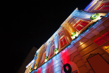 illuminated opera house in night Kiev